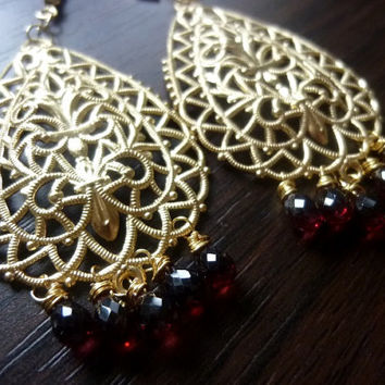 ORNAIRE - Highly Detailed Ornate Filigree Teardrops with Garnet Briolette Earrings