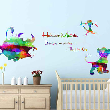 kcik2031 Full Color Wall decal Watercolor Character Sticker Disney children's room Hakuna matata quote The Lion King Pumba Timon Simba