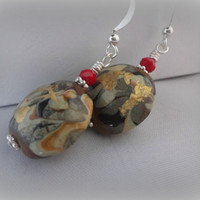 Handmade Red and Gold Lampwork Earrings, Gift for Her