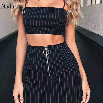 Slash Neck Strap Crop Tops and A-Line Women Skirts Two Pieces Women Set