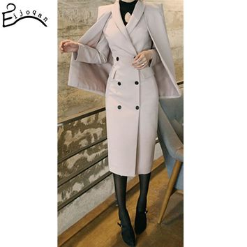 Europe and United States Women Woolen Blends Stylish Coats double breasted suit Cape Shawl Ladies Slim Trench Coat c264