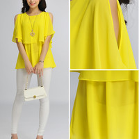 Yellow Cut-Out Sleeve Layer Top