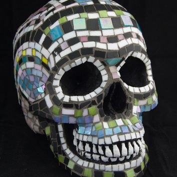Mosaic Day of the Dead Skull Stained Glass Tile by Jiveworks