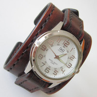 Antique Brown Leather Watch Cuff Men's Wrist Watch Bracelet Watch, Mens Gift