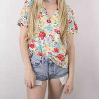 Vintage Floral Colorful Cut Out T Shirt Blouse