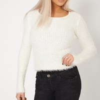 Fluffy Feel Knitted Cream Jumper