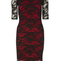 **Fever Fish Black And Red Lace Scallop Dress