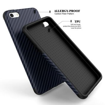 Luxury Elegent  Carbon Fiber Soft Case For iPhone 5 5S SE Leather Skin 3D Texture Tire Defender Cover For iPhone SE