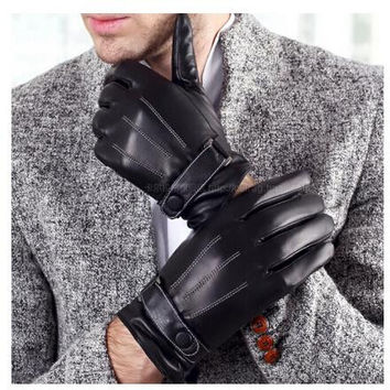 PU leather man's gloves Male autumn and winter thermal thickening cold-proof Mittens