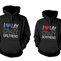 365 In Love His and Her Matching Hooded Sweatshirts I Love My Crazy Boyfriend and Girlfriend Couples Hoodies