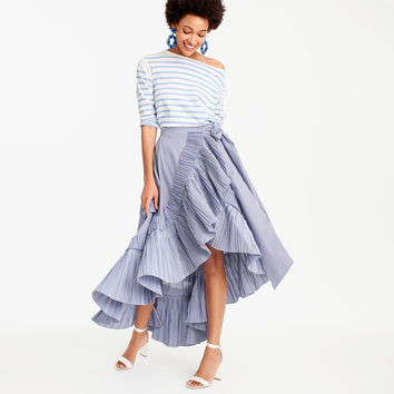 Collection ruffle skirt in striped shirting fabric : Women ready-to-party collection | J.Crew