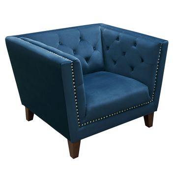 Grand Tufted Back Chair with Nail Head Accent in Blue Velvet