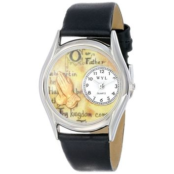 SheilaShrubs.com: Women's Lords Prayer Black Leather Watch S-0710010 by Whimsical Watches: Watches
