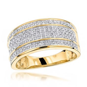 Unique Mens Wedding Bands 10K Gold Diamond Ring
