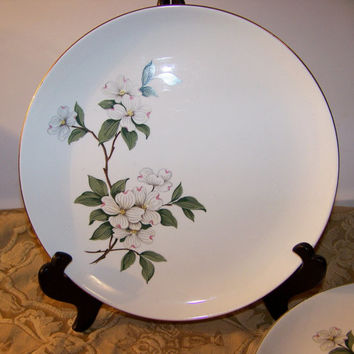 "Vintage Porcelain Dogwood Plates, Set of 5, Gold Rim Plates, 9.5"" Dinner Plates, Antique white finish, Floral Design"