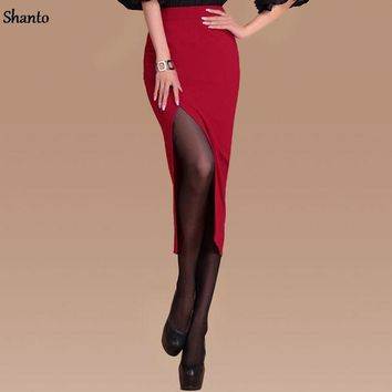 DCCKF4S Shanto Office Pencil Skirts Womens wine red black Fashion Midi Long  Formal Work Split Skirts Front Slit Female Faldas 8214BW