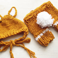 Newborn Fox Outfit set Photography Prop, Fox Hat and Pants set, Knit baby pants RTS