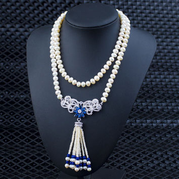 Jewelry Gift Shiny Stylish New Arrival Pearls Tassels Sweater Chain Accessory Necklace [4914834756]