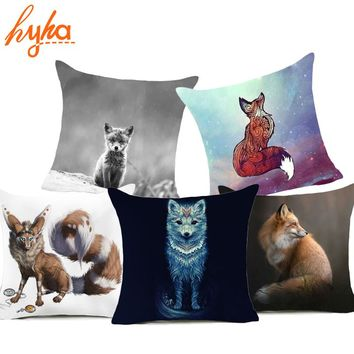 Hyha Fox Polyester Pillow Case Bohemian Cartoon Affection Fox Pillowcase Animal 45x45cm Home Throw Pillows case pillow youtube