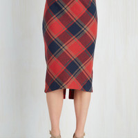 Vintage Inspired, Scholastic Long Pencil Scholar ID Skirt in Red by ModCloth