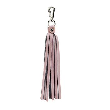 Fringe Power Leather Bag Charm-Rose Quartz/Silver