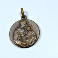 St Anthony Medal with Relic Vintage Catholic Religious Padua Italy