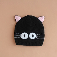 Baby Cute Black Cat Pattern Handmade Knitting Hat Embroidery Winter Hat (Size: M, Color: Black) = 1714388676