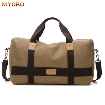NIYOBO Canvas Men Travel Bags Carry On Luggage Man's Travel Duffle Bags Vintage Weekend Bags Large Capacity Male Handbags PT1235