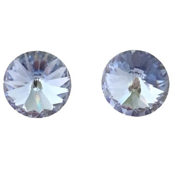 Crystal Stud Earrings In Baby Blue