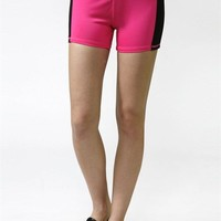 Women Colorblock Yoga Fitness Workout Sports Mini Compression Short