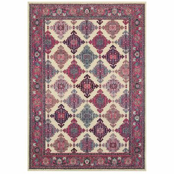 Bohemian Ivory Pink Oriental Lattice Traditional Rug