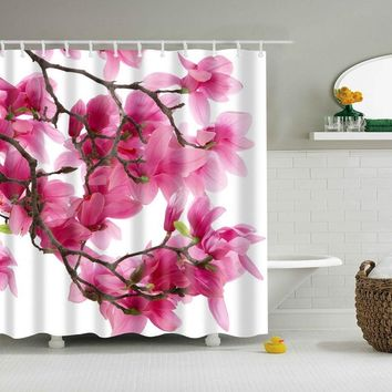 Flower Waterproof Shower Curtain Waterproof Polyester Fabric Bath Bathing Bathroom Curtains with 12 Hooks for Home Decorations