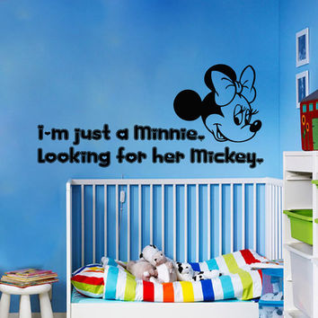 Wall Decals Mouse Quote I'm Just A Minnie Looking For Her Mickey Cartoon Home Vinyl Decal Sticker Kids Nursery Baby Room Decor kk312