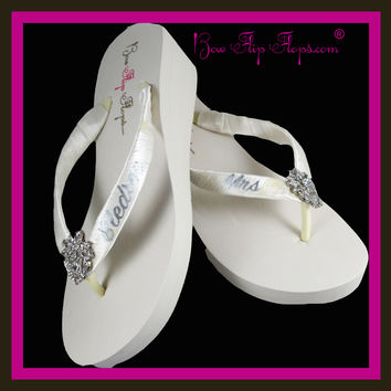 Mrs Custom Bridal Satin Flip Flops - Choose your embellishment, colors and heel height!