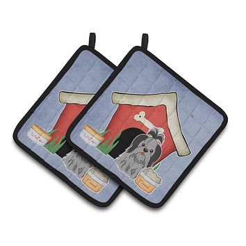 Dog House Collection Shih Tzu Black Silver Pair of Pot Holders BB2843PTHD