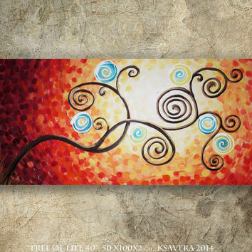weddings gift painting TREE of LIFE art sunrise contemporary artwork tree art acrylic on canvas by Ksavera