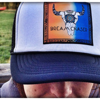 Trucker hat + steer skull + dream + boho + gypsy + surf