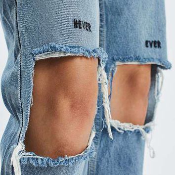 MOTO Slogan Ripped Mom Jeans