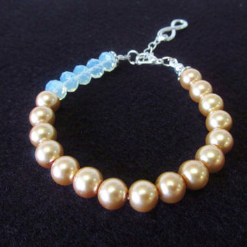 7 / 8 Inch Infinity Charm Bracelet - Champagne / Gold Glass Pearl Beaded Bracelet - White Crystal Adjustable Bracelet Jewelry Gifts for Her