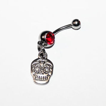 Skull Belly Button Ring, Halloween Jewelry, Gothic, Navel Ring, Belly Piercing