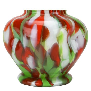 Mottled Green and Red Glass Vase Possibly by Kralik Bohemian circa 1920
