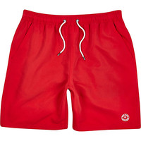 River Island MensBright red mid length swim trunks