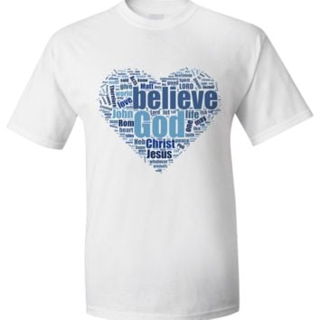 100 Top Bible Verses Word Cloud - Heart T-Shirt bibleversestshirt