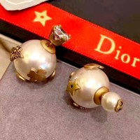 Dior new pearl size ball stud earrings