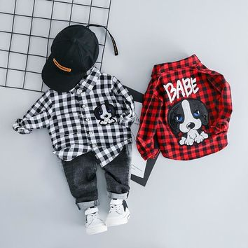 Clothing Sets For Baby Boy Plaid Long Sleeves Top + Jeans Set
