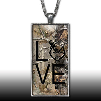 Camo Love Heart Pendant Charm Necklace Deer Head Browning Black Country Girl Custom Necklace, Silver Plated Jewelry