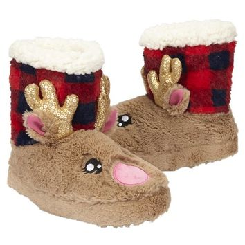 REINDEER BUFFALO CHECK SLIPPERS | GIRLS {CATEGORY} {PARENT_CATEGORY} | SHOP JUSTICE