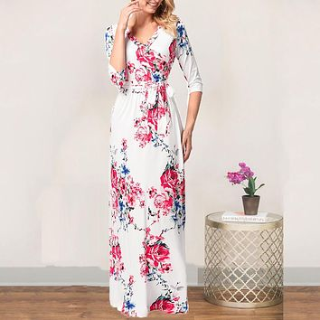 Sexy V neck Women Clothing Robe Dresses Half Sleeve Floral Print Large Size Long Dress Plus female winter dress Autumn casual US