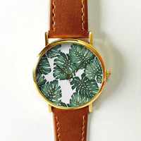 Tropical Palm Leaves Floral Watch , Vintage Style Leather Watch, Women Watches, Boyfriend Watch, Men's watch, Summer Green