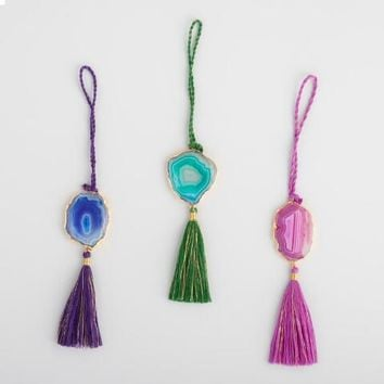 Agate Stone with Tassel Ornaments Set of 3